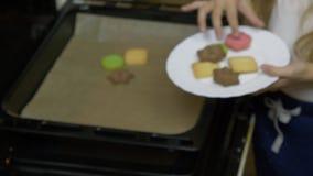 Feche zumbem acima dentro handheld A menina caucasiano nova pôs cookies do forno à placa branca A HOME fêz bolinhos Dentro cozinh video estoque