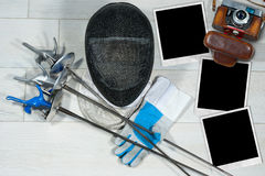 Fechten - alte Kamera-und Foto-Rahmen Lizenzfreies Stockfoto