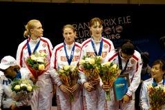 Fechten. Stufesieger des Woldcup 2010. Lizenzfreie Stockbilder