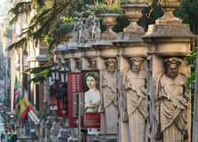 Fechten von Galleria Palazzo Barberini ` Arte Antica Nazionale d mit Spalten mit den Bild atlantes, Rom Lizenzfreies Stockbild
