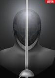 Fechtenmaskenvektorhintergrundillustration Lizenzfreie Stockbilder