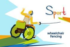Fechter auf Rollstuhl arbeitsunfähigem Athleten Fencing Sport Competition Lizenzfreie Stockfotografie