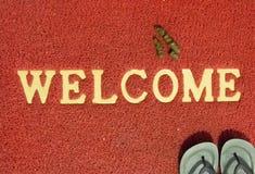Feci del cane sul tappeto di benvenuto di rosso immagine stock