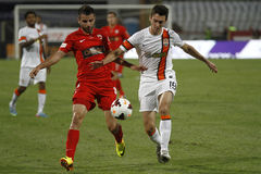 Fecundo Ferreyra of Shakhtar Donetsk. Shakhtars Fecundo Ferreyra (R) and Dinamos Constantin Grecu (L) pictured in action during the friendly game between Dinamo Stock Photos