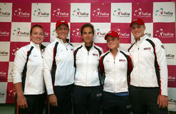 Fed cup Czech republic vs. USA. American tenis players team on press conference before the Federation Cup World group 2009 between Czech republic and USA in Brno royalty free stock image