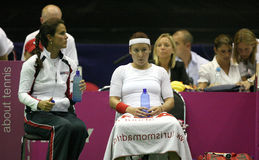 Fed cup Czech republic vs. USA. Mary-Joe Fernadez, a coach of american tenis players team (on left) and Bathanie Mattek-Sands on the Federation Cup World group Royalty Free Stock Image