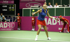 Fed cup Czech republic vs. USA. Petra Kvitova in first game on the Federation Cup World group 2009 between Czech republic and USA in Brno, Czech republic. She royalty free stock image