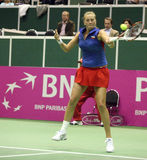 Fed cup Czech republic vs. USA. Petra Kvitova in first game on the Federation Cup World group 2009 between Czech republic and USA in Brno, Czech republic. She stock photo