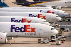 Fed ex cargo airplanes at cologne bonn airport germany. Cologne, North Rhine-Westphalia/germany - 09 02 19: fed ex cargo airplanes at cologne bonn airport stock image