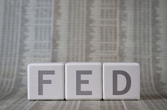 FED. Eral Reserve System written on cubes Stock Photos