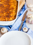 Fed meat lasagna dish on belots Royalty Free Stock Photo
