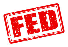 FED red stamp text on white Stock Photo