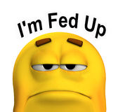 Fed Up. A conceptual image of a cartoon face that is fed up and sorrowful Royalty Free Stock Photo