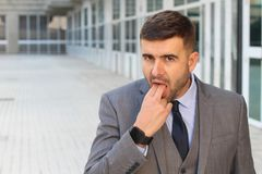 Fed-up business ready to puke.  Stock Photography