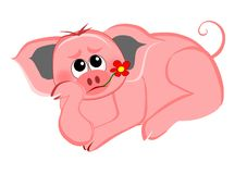 Fed-up pig. Recumbent pig with red flower in chops vector illustration