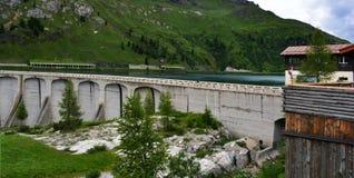 Fedaia水坝意大利 库存图片