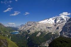 Fedaia lake with Marmolada mount Royalty Free Stock Image