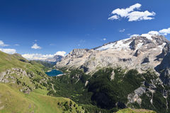 Fedaia lake and Mount Marmolada Stock Image