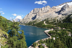 Fedaia pass with lake Stock Photography