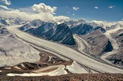 Fedchenko lodowiec w Tajikistan fotografia stock