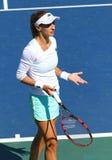 FedCup tennis match Ukraine vs Argentina. KYIV, UKRAINE - APRIL 17, 2016: Close-up portrait of Lesia Tsurenko of Ukraine during BNP Paribas FedCup World Group II royalty free stock photography