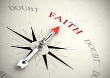 Fede contro il concetto di dubbio, di religione o di fiducia Fotografia Stock Libera da Diritti