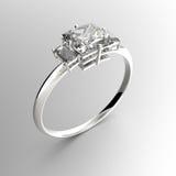 Fede nuziale con i diamanti rappresentazione 3d Fotografia Stock Libera da Diritti
