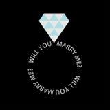 Fede nuziale con il diamante.  Carta di proposta Immagine Stock Libera da Diritti