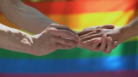 Fede nuziale mettente maschio omosessuale sul partner, fondo della bandiera del lgbt, uguaglianza video d archivio