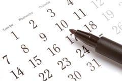 Feder auf Kalender Stockfotografie