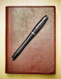 Feder auf ledernem Journal Lizenzfreies Stockbild
