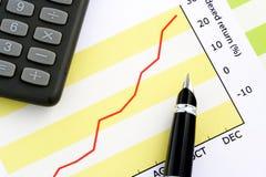 Feder auf positivem Einkommen-Diagramm Lizenzfreie Stockfotografie