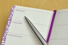 Feder auf Tagebuchnotizbuch mit Namen der Wochentage Stockfotografie