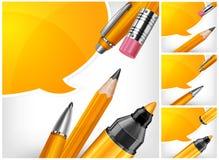 Feder, Bleistift und Markierung mit Spracheluftblase Stockbild