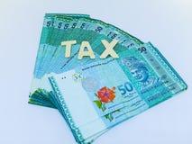 Feder, Brillen und Diagramme Geld oder Währung Buchstabesteuer mit Geld auf dem Hintergrund lizenzfreies stockfoto