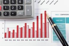 Feder, die Diagramm auf Finanzreport zeigt Lizenzfreies Stockfoto