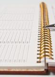 Feder mit einem Notizbuch lizenzfreie stockbilder