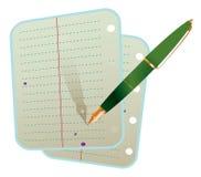 Feder mit zwei Notizbuchblättern Stockfotografie