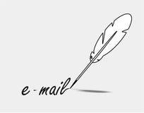 Feder schreibt eMail Stockbilder