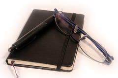 Feder, Tagebuch und Gläser Lizenzfreie Stockfotos