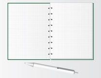 Feder und Notizbuch für Kursteilnehmer stock abbildung