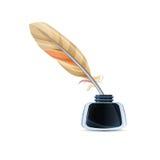 Feder und Tintenfaß Lizenzfreies Stockfoto