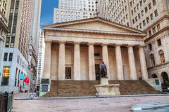 Federaal Hall National Memorial op Wall Street in New York stock foto