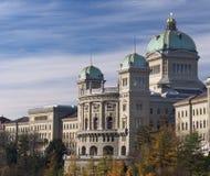 Federaal Paleis van het zijaanzicht van Zwitserland in de herfst Royalty-vrije Stock Foto