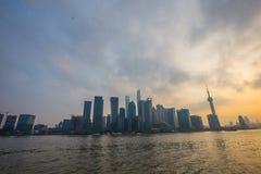 Federación de Shangai en la puesta del sol Foto de archivo libre de regalías