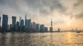 Federación de Shangai en la puesta del sol Foto de archivo