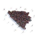 Federación del mapa de la forma del grupo de la gente de Bosnia y Herzegovina Imágenes de archivo libres de regalías