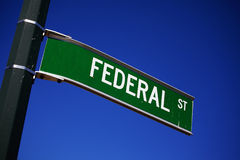 Federal. A street sign showing the direction of Federal street Royalty Free Stock Photos