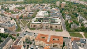 Federal administrative court of Germany. In Leipzig. Aerial view stock footage
