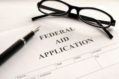 Federal aid application Royalty Free Stock Image
